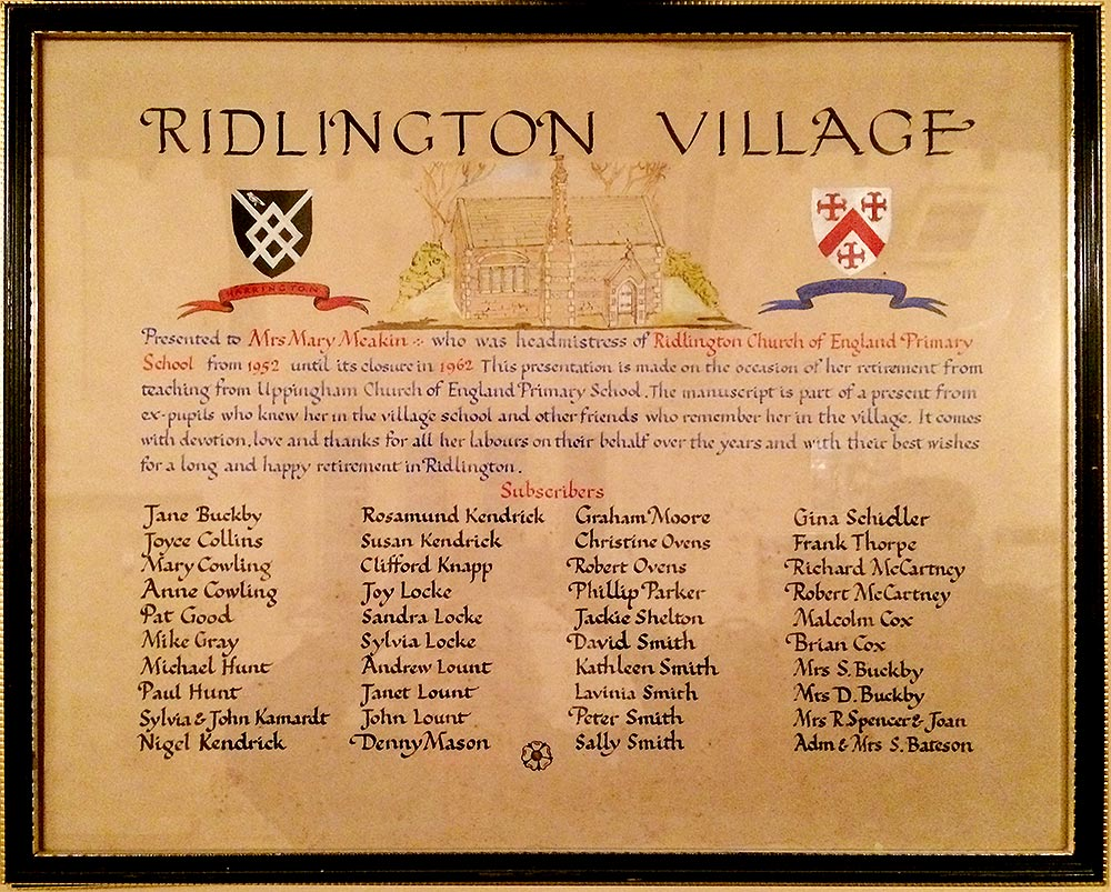 Commemorative Ridlington Village Hall School Plaque